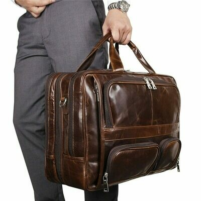 Men Briefcase Bags Portfolio Laptop Messenger Vintage Genuine-Leather Office Black Large