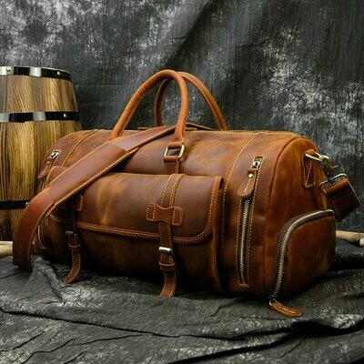 MAHEU Genuine Leather Men Travel Bags Shoe Pocket Hand Luggage Bag Large Capacity Outdoor