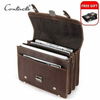 Briefcase Messenger-Bags CONTACT'S Laptop-Quality Shoulder Crazy-Horse Men's Bag Male
