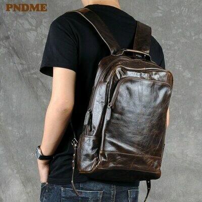 Men's Backpack Bookbag Travel Laptop PNDME Designers Genuine-Leather Vintage Teens Casual