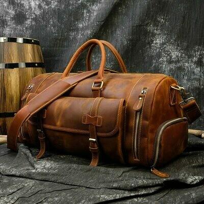 Travel-Bag Shoe-Pocket Messenger-Bag Weekend Crazy Big-Capacity Vintage Large with 20inch