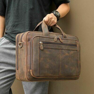 Briefcase Messenger-Bag Portfolio Laptop Business Coffee Brown Genuine-Leather Travel
