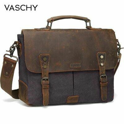 Laptop Briefcase Satchel-Bag Messenger-Bag Canvas Crossbody VASCHY 14inch for Men