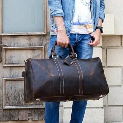 Handbags Duffle-Bag Weekend-Bag Travel Tote MAHEU Genuine-Leather Large Man Big Men 60cm