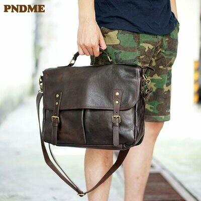 Men's Briefcase Vintage Genuine-Leather Luxury Laptop-Shoulder-Bag Business High-Quality
