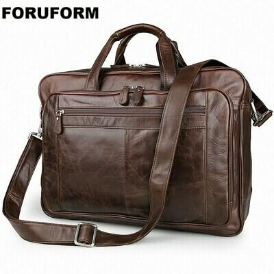 Briefcase Laptop-Bag Classic Lawyer Genuine-Leather Handbag Portfolio Satchel-Shoulder-Bag