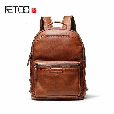 Shoulder-Bag Backpack Plant-Leather Travel Retro AETOO High-Capacity Men's Bag. Head-Layer-Cowhide