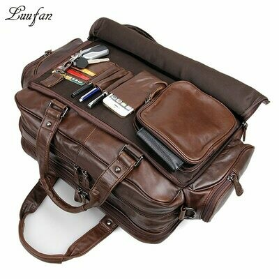 Briefcase Messenger-Bag Leather Laptop Genuine-Leather Tote-Bag Men's Real Big 16-Double-Layer