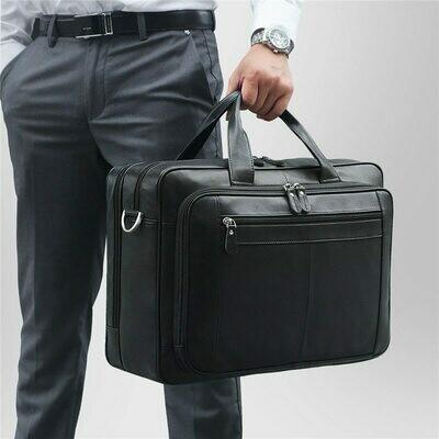Men Briefcase Messenger-Bag Portfolio Laptop Business Genuine-Leather Travel Black Male