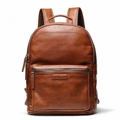 Men Backpacks Laptop Travel-Bag Brown Highend Full-Grain Genuine-Leather Women Vegatable