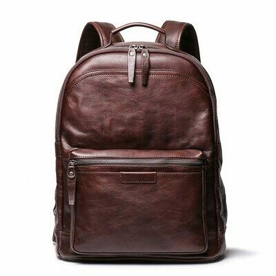Men Backpacks Laptop Travel-Bag Vegatable Vintage Genuine-Leather Women Nesitu M88120