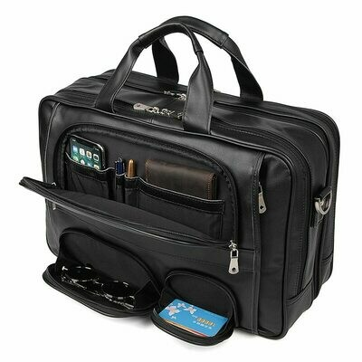 Men Briefcase Messenger-Bags Portfolio Laptop Coffee Brown Vintage Genuine-Leather Office