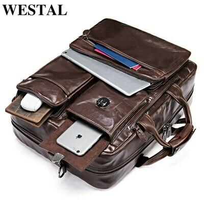 WESTAL Genuine Leather Briefcase Man Large Men Leather Briefcase Vintage Office Messenger
