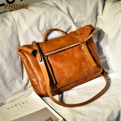 Messenger-Bag PNDME Luxury Vintage Genuine-Leather Fashion High-Quality Casual Women's