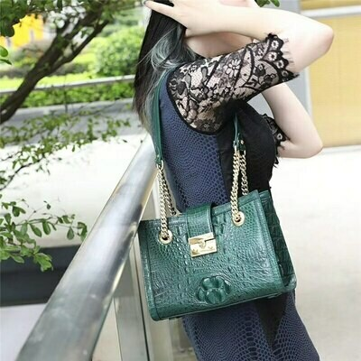 Purse Crocodile Chic-Chain-Bag Cross-Shoulder-Bag Alligator Leather Fashion Women's Genuine
