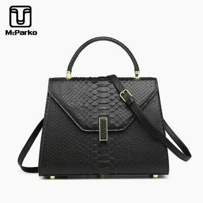 Ladies Bags Python Snake Skin Black Genuine-Leather Luxury Fashion Mcparko Women White