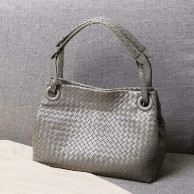 Shoulder-Strap Weave Large Genuine-Leather Inner-Zipper-Bag Woman High-Quality Volume-Package