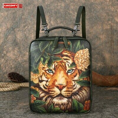 Travel Backpacks Computer-Bags Schoolbag Vintage Female Large-Capacity-Cowhide Casual