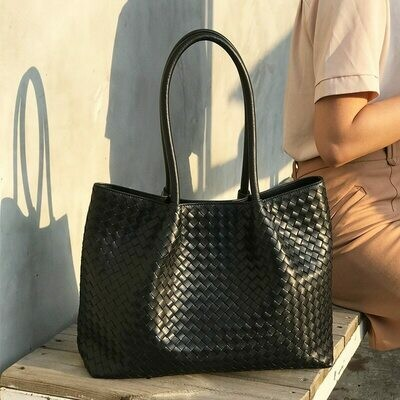 Inner-Zipper-Bag Genuine-Leather Woman High-Quality And Package Weave Manual Out Large-Capacity