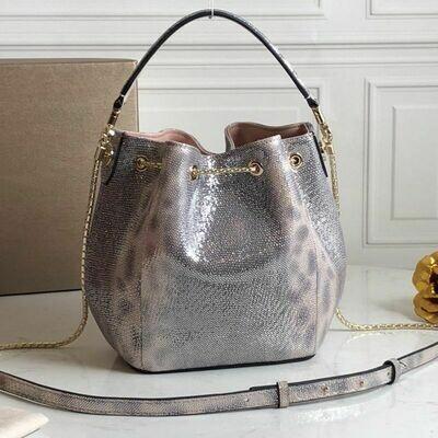 Snake Leather Bucket Bag Luxury Woman Handbag Famous designer handbag Leather Drawstring Bag Metal Chain Strap top brand handbag