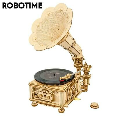 Assembly-Toy Building-Kits Wooden Model Gramophone Robotime DIY Rokr for Children Adult