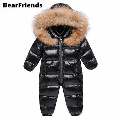 Winter Overalls Jacket Coat Park Wear Snowsuit Russia Girl Infant Down for Kids Boy 90%Duck-Down
