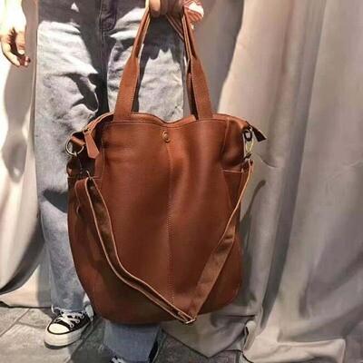 Big Tote Handbags Shoulder-Bag Laptop Long-Strap Genuine-Leather Simple Crossbody Vintage