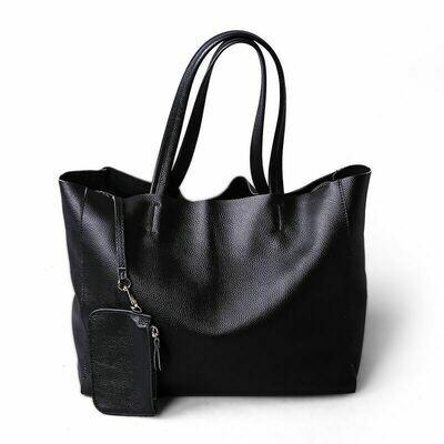 Satchels-Bag Totes-Handbag Genuine-Cowhide-Leather Women Simple Deluxe Lady Soft Waterproof