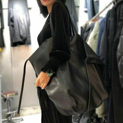 Bag Tote Real-Cowhide-Handbags Women Original Vintage Solid-Shoulder Simple-Design