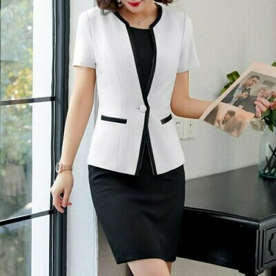 Suits Two-Piece-Set Dress Wear-Work Business Office Formal Elegant-Design Plus-Size Women