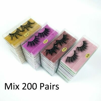 Strip Pack Mink-Lashes-Set Makeup False-Eyelashes Bulk Wholesale 25mm Dramatic 50/100/200-pairs