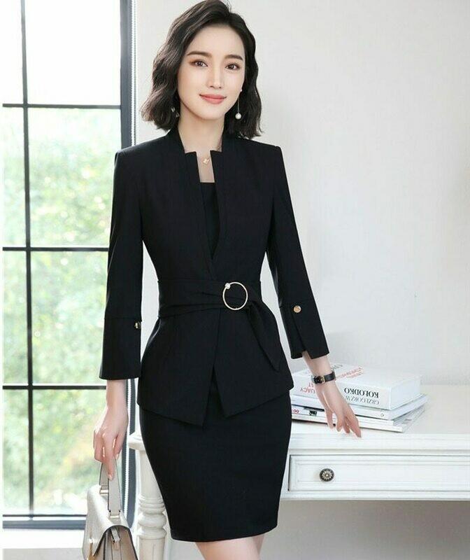 Blazers Dress Salon-Sets Jackets Work-Wear Business-Suits Office Ladies Casual Fashion
