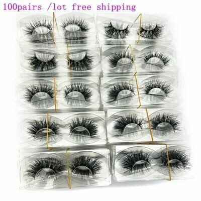 Lashes Mink Custom-Box No-Packaging Mikiwi Full-Strip 100-Pairs/Pack Wholesale 3D