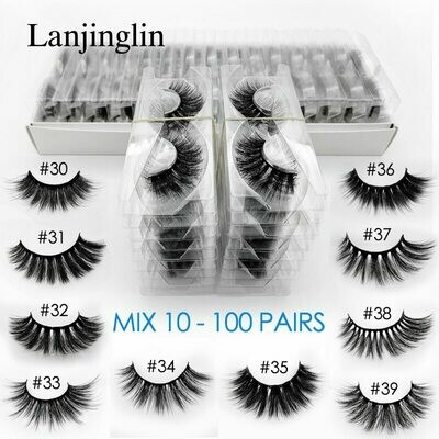False-Eyelashes Lash-Extension 3d Mink Long-Makeup Fluffy-Wispy In-Bulk Wholesale Natural