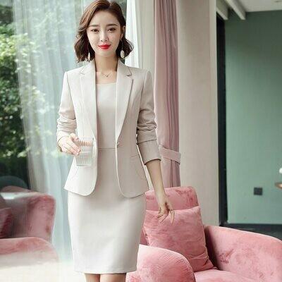 Blazer Dress Office-Wear Suits 2piece-Set Woman Ladies Full Vestido Slim 8092 Sleeveless
