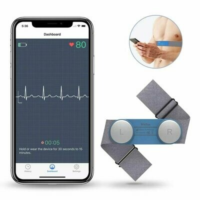 Hand-Held Wearable  Bluetooth Wireless ECG Machine Portable Handheld EKG Monitor USB Charging Share PDF Report With Doctor