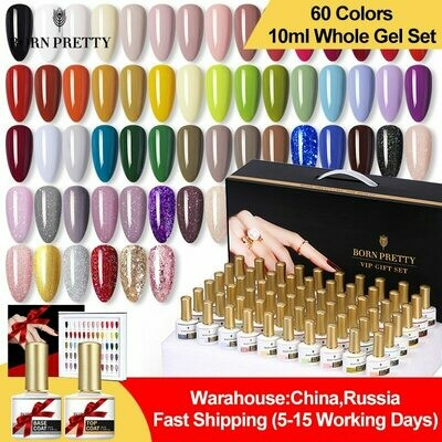 Nail-Polish-Kit Gel Pretty-Gel Base--Top-Coat Nail-Art-Design Semi Permanent BORN Hot-Colors