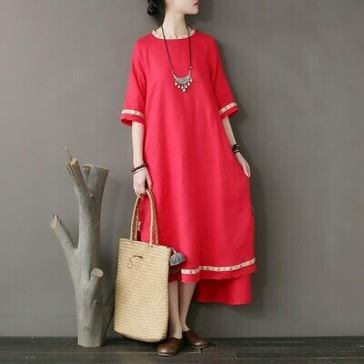 Linen Dress Embroidery Loose-Sleeve National-Style Stitching Tear-Edge High-Grade Original