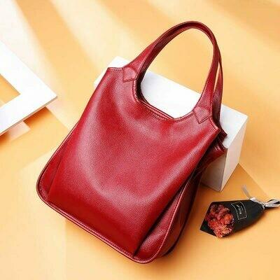 Handbags Tote Bag Ladies DIENQI Genuine-Leather Women's Big Female for Cow Winter Red