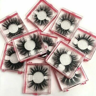 Square-Box Extension Mink-Eyelashes Sexy Natural Wholeasle 25mm Thick Handmade Soft 100-%