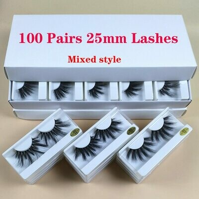 Makeup Mink-Eyelashes Dramatic In-Bulk Wholesale 25mm Thick-Strip 30/50/100-pairs Long