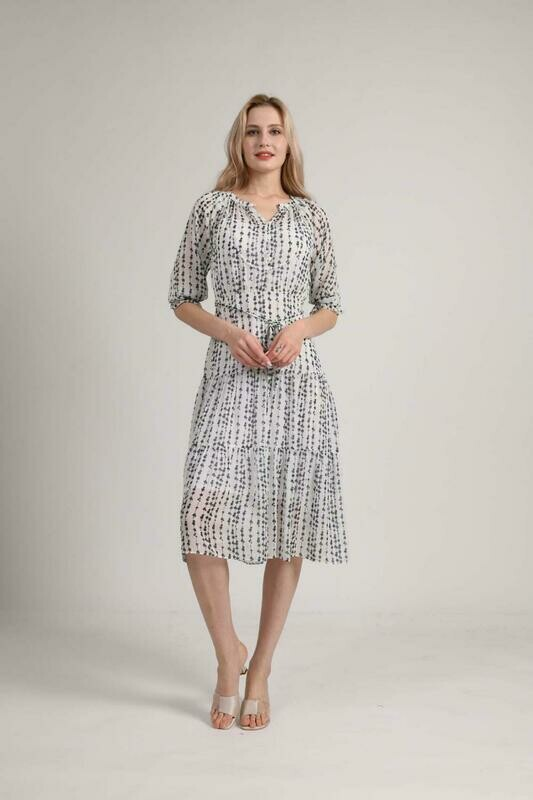 Print Dress White Silk High-End Black Fashion New-Arrived Lace-Up And