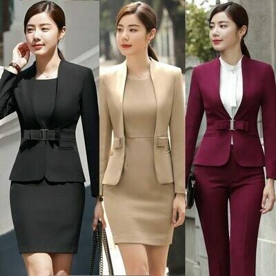 Blazer Dress Costumes Suit Jacket Office Work-Wear Elegant 2piece-Sets Woman's Ladies