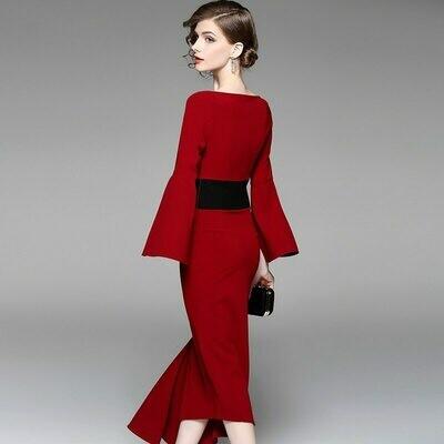 Dress for Waist-Tightening-Dress Medium-Length Irregular And Red New