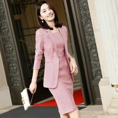 Blazers-Set Dress Jackets Work-Wear-Suits Formal-Uniform Coat Business Elegant Women
