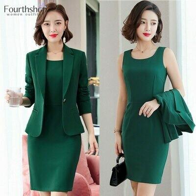 Suit Dress Two-Piece-Set Business Office Professional Elegant Women Fashion Work-Uniform