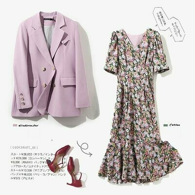 Coat Dress Blazer Women Double-Breasted 2piece-Set And SL521 Short-Sleeve Floral-Print