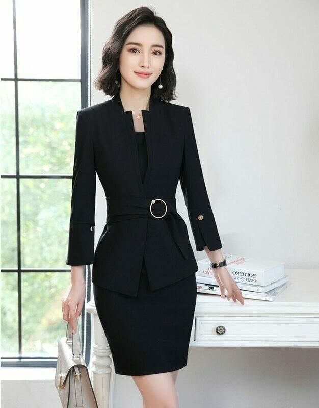 Suits Dress Office-Uniforms Work-Wear Formal Black Jacket Blazer-Sets Women Ladies And