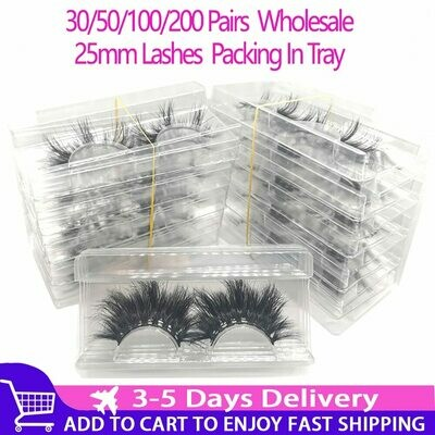 Wholesale 25mm Label Packing Makeup Mink-Eyelashes In-Tray Dramatic Long 3D 30/50/100/200pairs