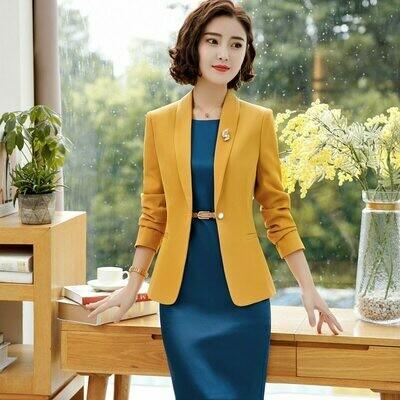 Formal-Dress-Set Blazer Dress Suit Jacket Business Elegant Plus-Size Women Ladies IZICFLY